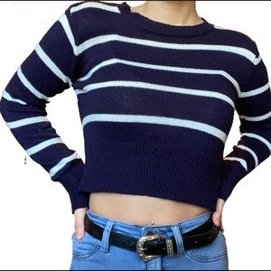 Tilly's blue striped cropped sweater